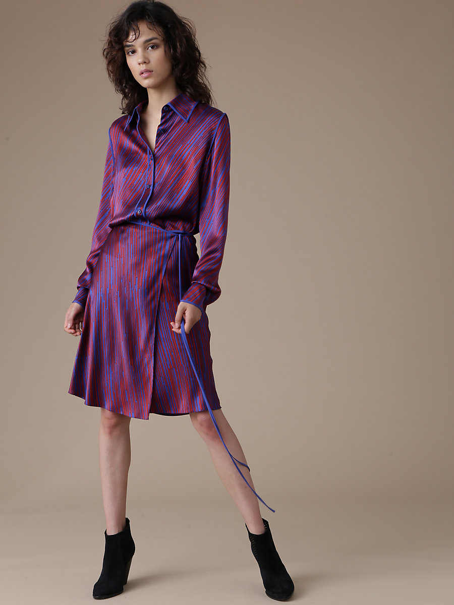Side Tie Skirt in Visconti Royal/ Royal by DVF