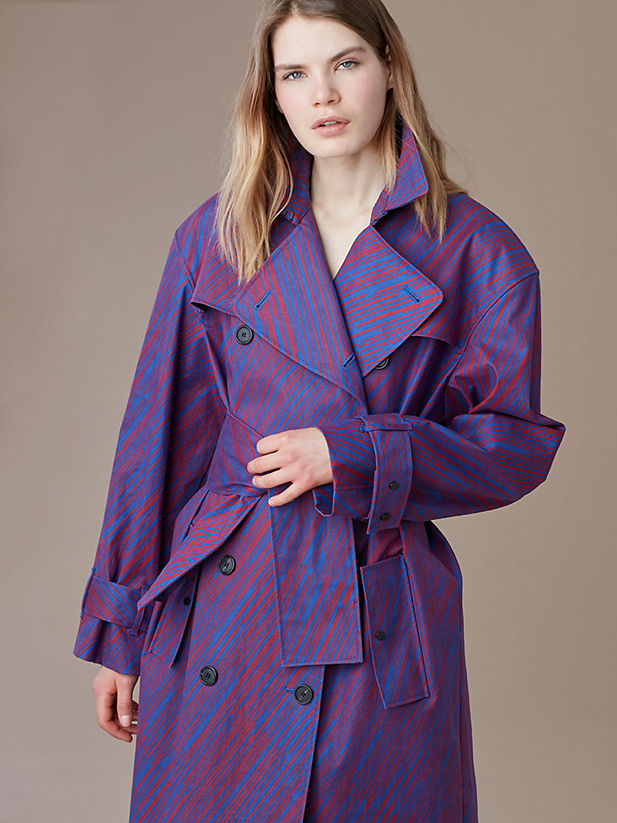 Long-Sleeve Belted Collared Trench in Visconti Royal by DVF