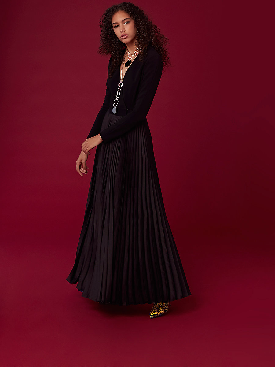 Long-Sleeve Pleated Wrap Gown in Black/ Royal/ Black by DVF
