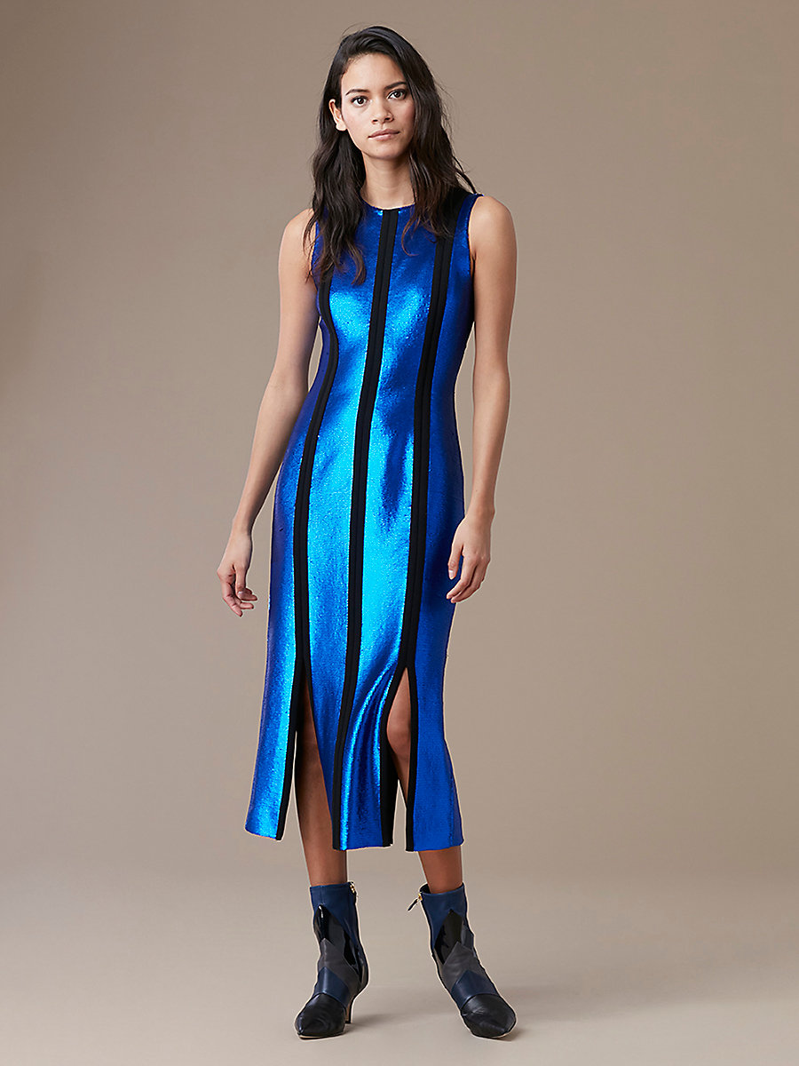 Sleeveless Tailored Paneled Dress in Royal/ Black by DVF