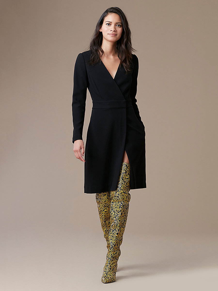 Long Sleeve A-Line Wrap Dress in Black by DVF