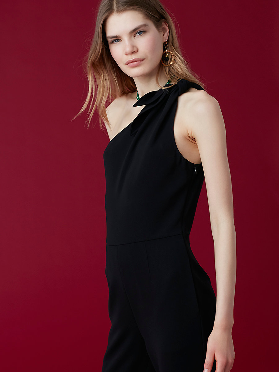One-Shoulder Knot Jumpsuit in Black by DVF