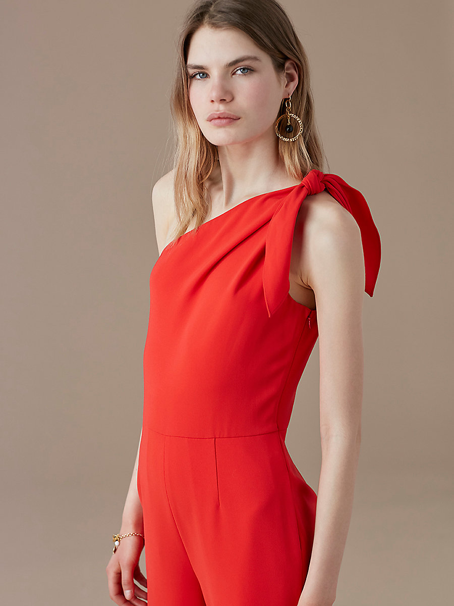 One-Shoulder Knot Jumpsuit in Bright Red by DVF