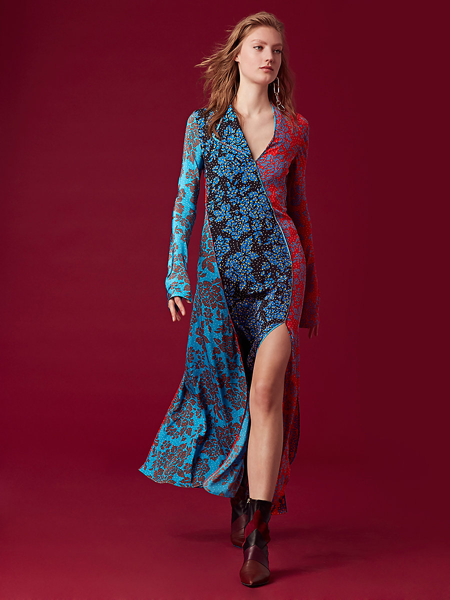 Long-Sleeve Paneled Bias Maxi Dress in Callow Cerulean by DVF