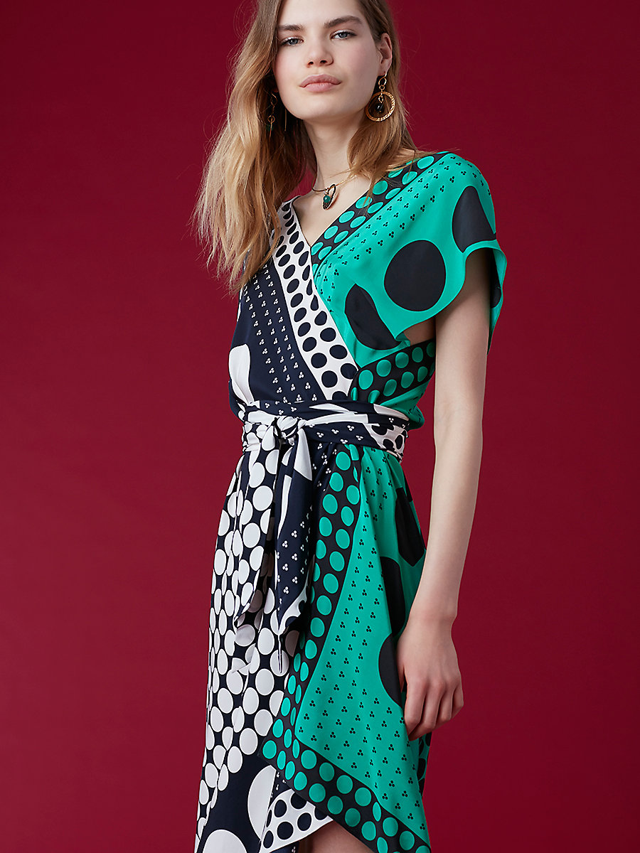 Asymmetric Sleeve Scarf Dress in Brunel Navy/ Evergreen by DVF
