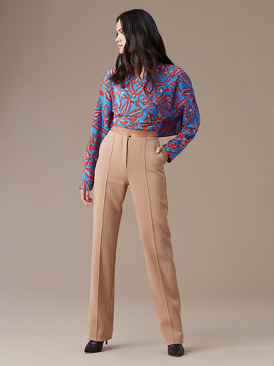 Long-Sleeve Crossed Cropped Top in Elsden Denim by DVF