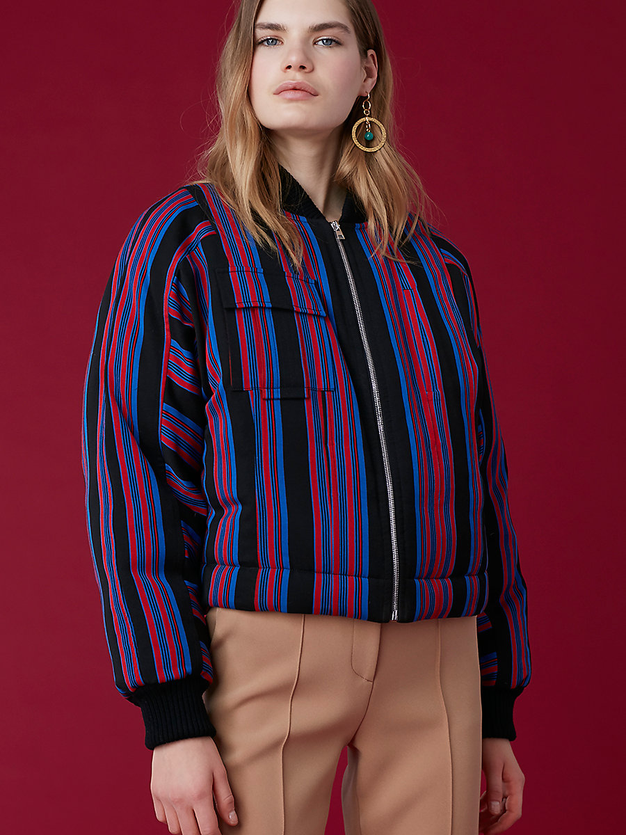Boxy Bomber Jacket in Black/ Royal/ Bright Red/ Black by DVF