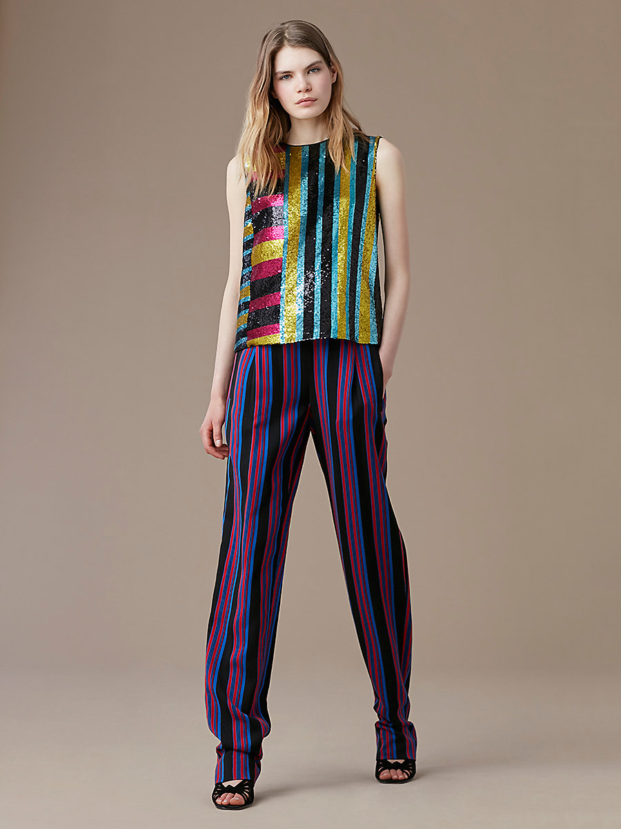 Full Length Soft Pant in Black/ Royal/ Bright Red by DVF