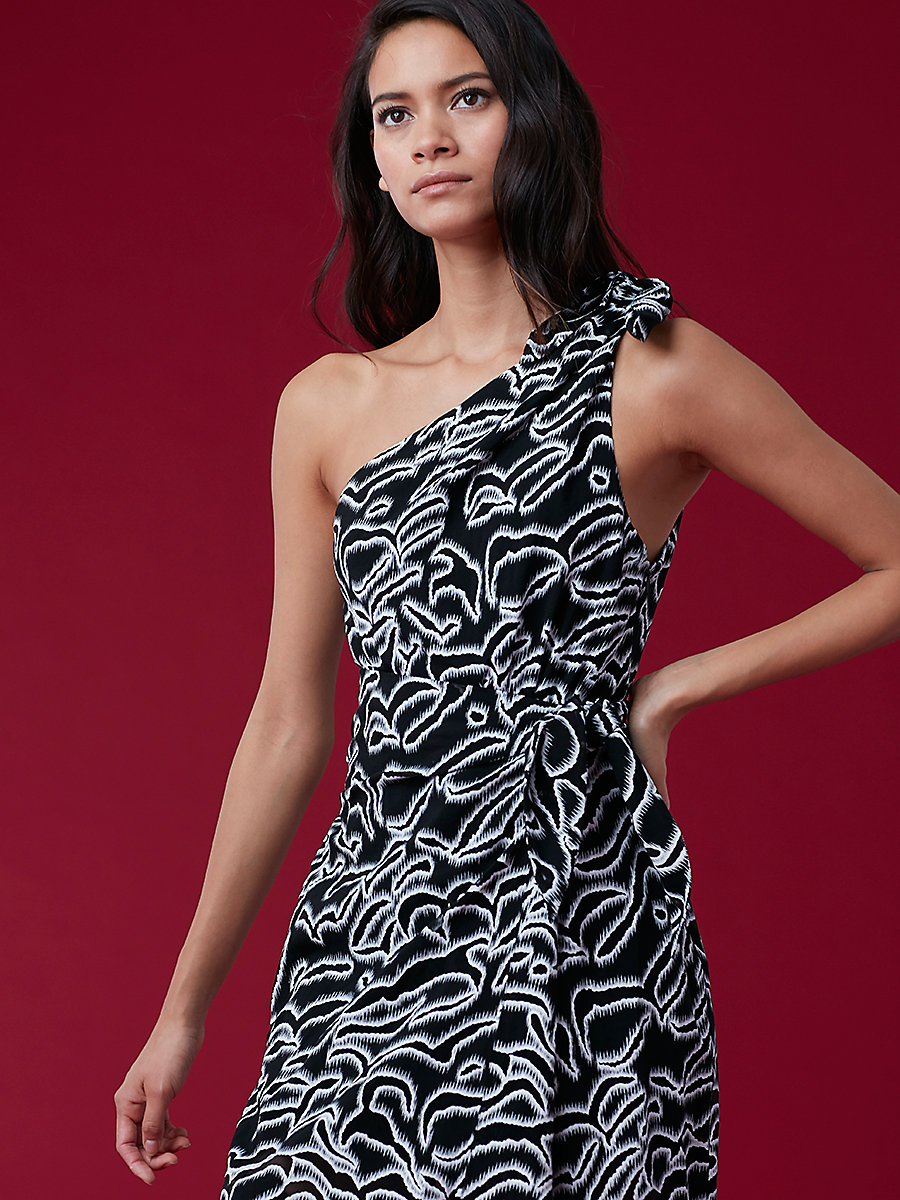 One Shoulder Knot Dress in Black/ White by DVF