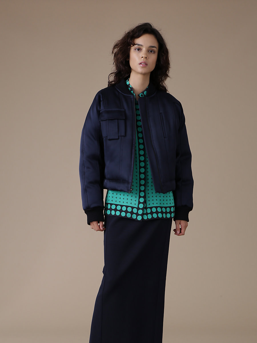 Bomber Jacket in Alexander Navy/black/royal by DVF