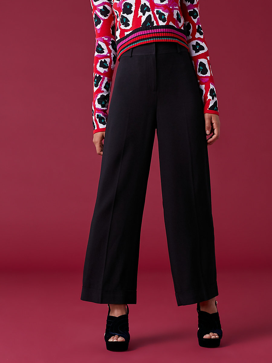 High-Waisted Wide-Leg Pant in Black by DVF