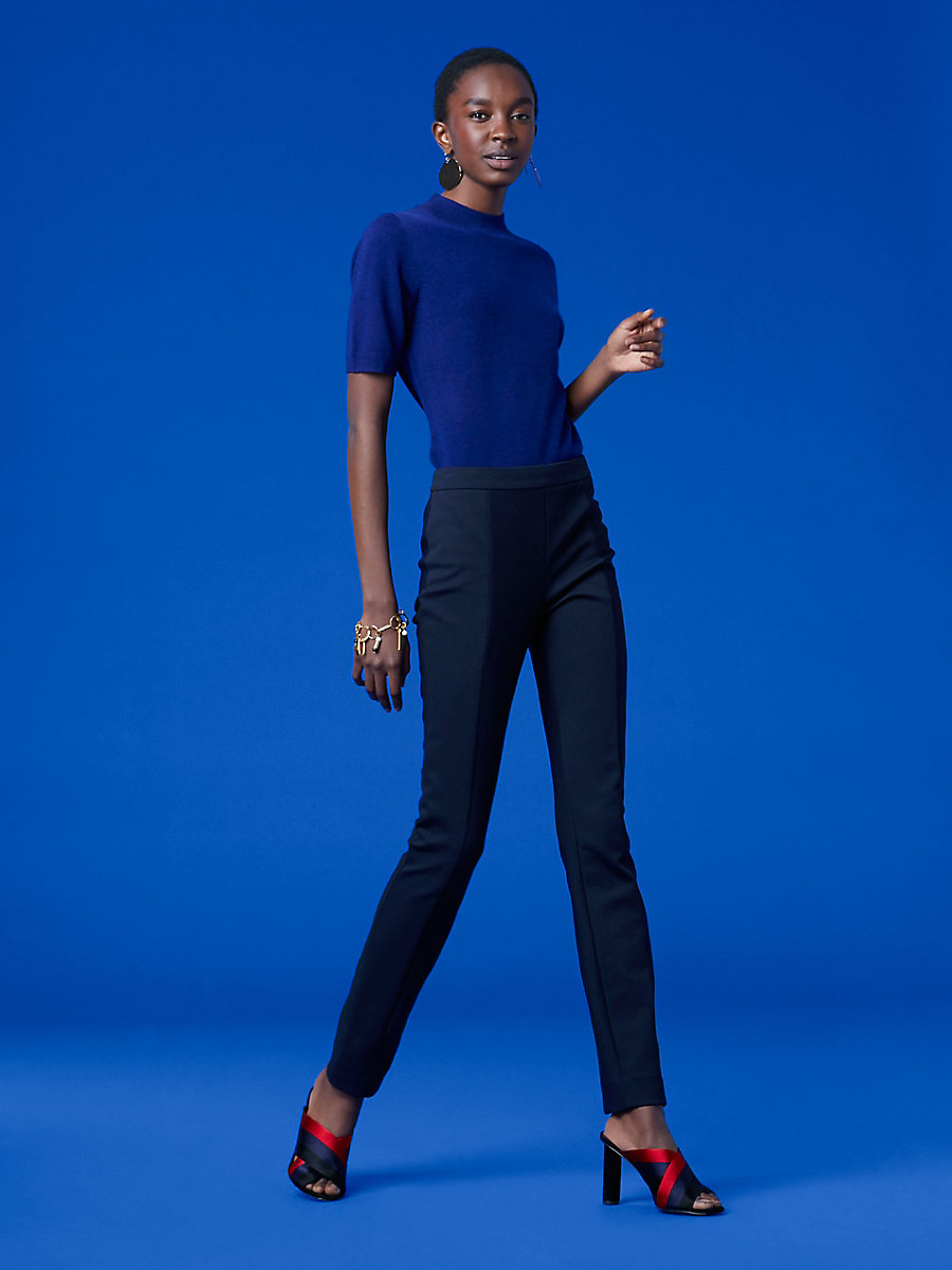 Short-Sleeve Mock Neck Knit Pull Over in Cobalt Blue/ Black by DVF