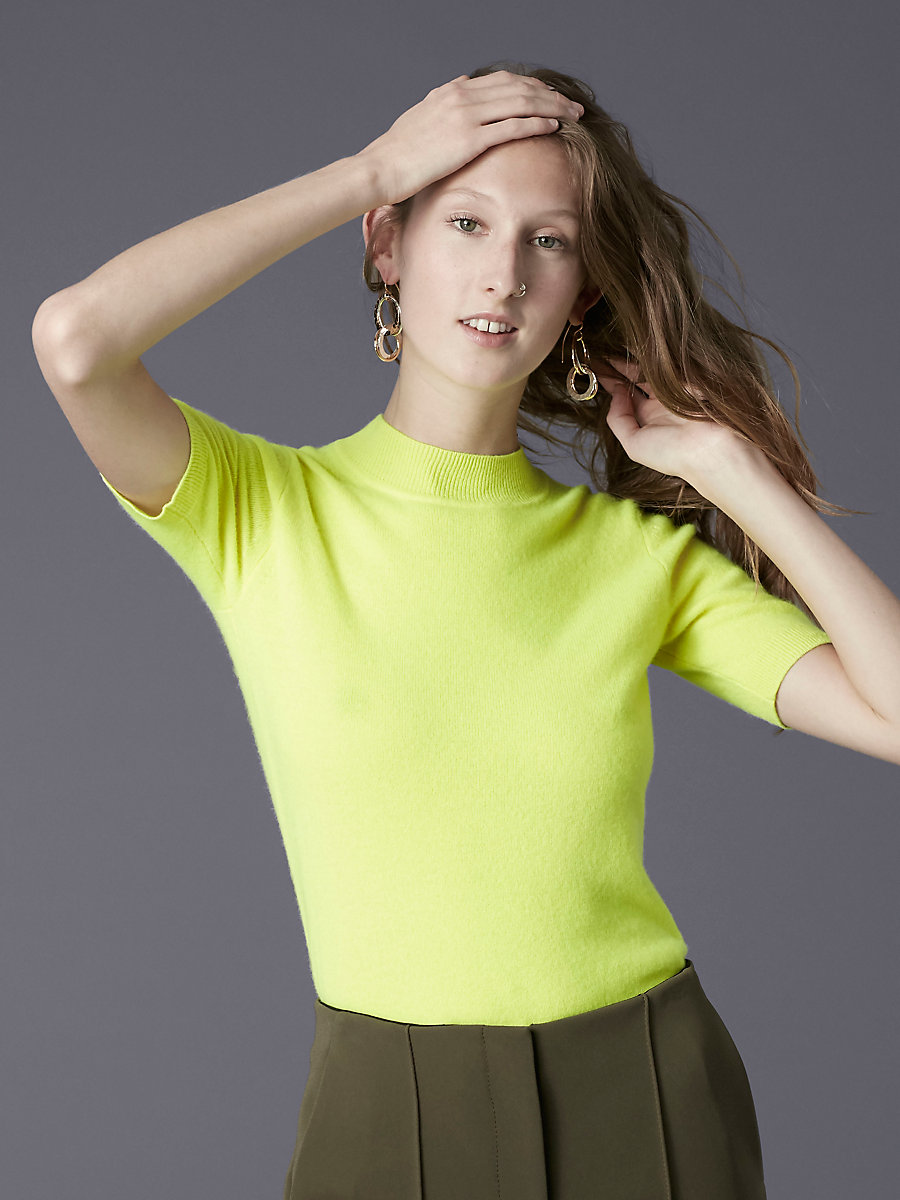 Short-Sleeve Mock Neck Knit Pull Over in Fluorescent Yellow by DVF