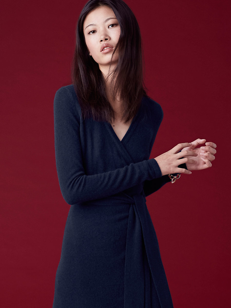 Linda Cashmere Knit Wrap Dress in Alexander Navy by DVF