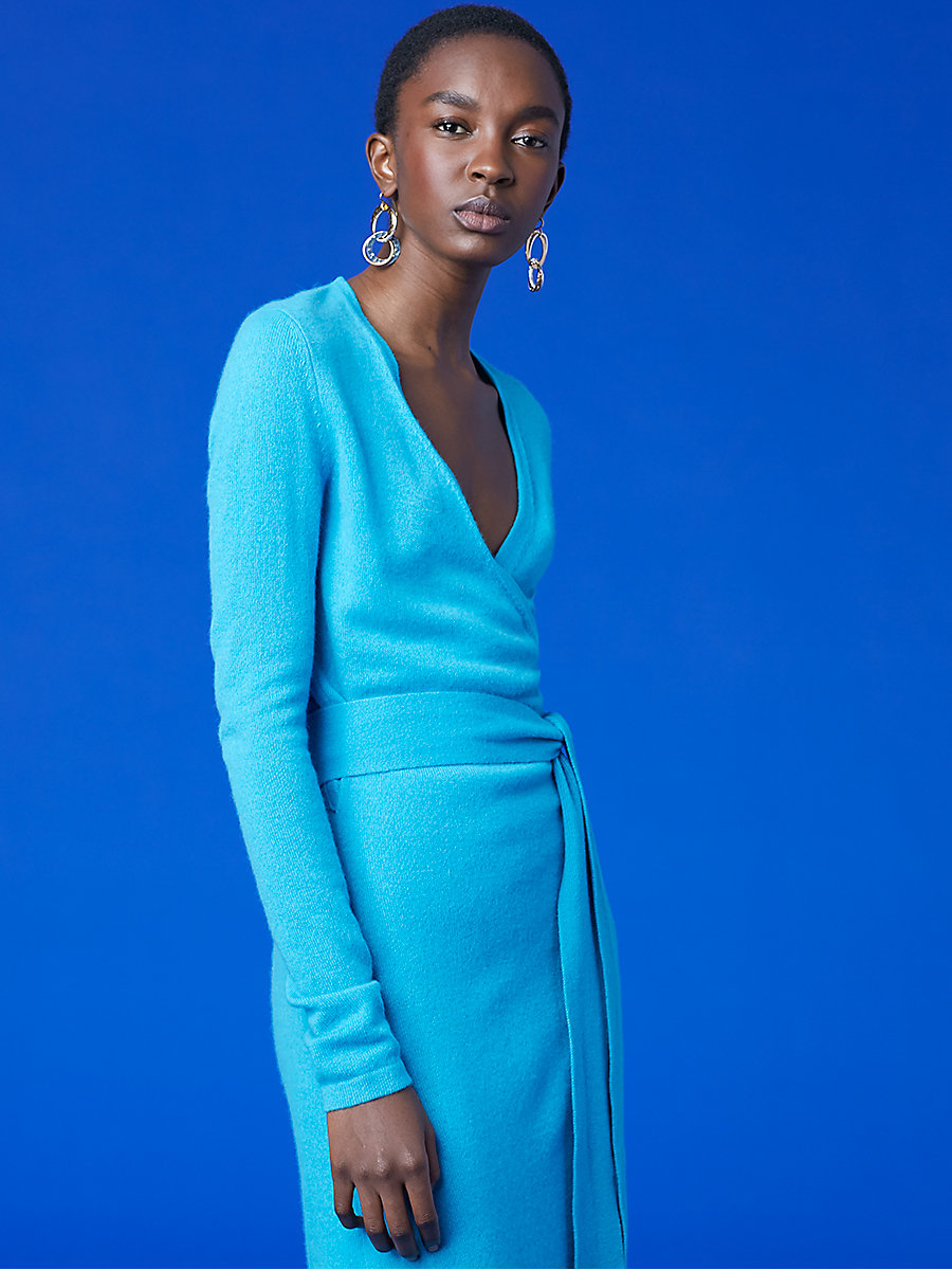 Linda Cashmere Knit Wrap Dress in Cerulean by DVF