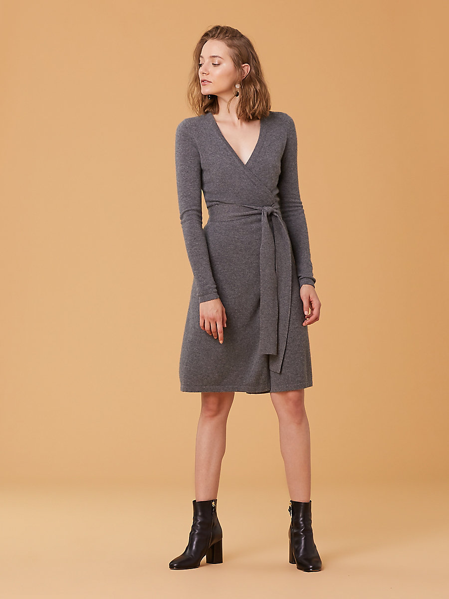 Linda Cashmere Knit Wrap Dress in Charcoal Melange by DVF