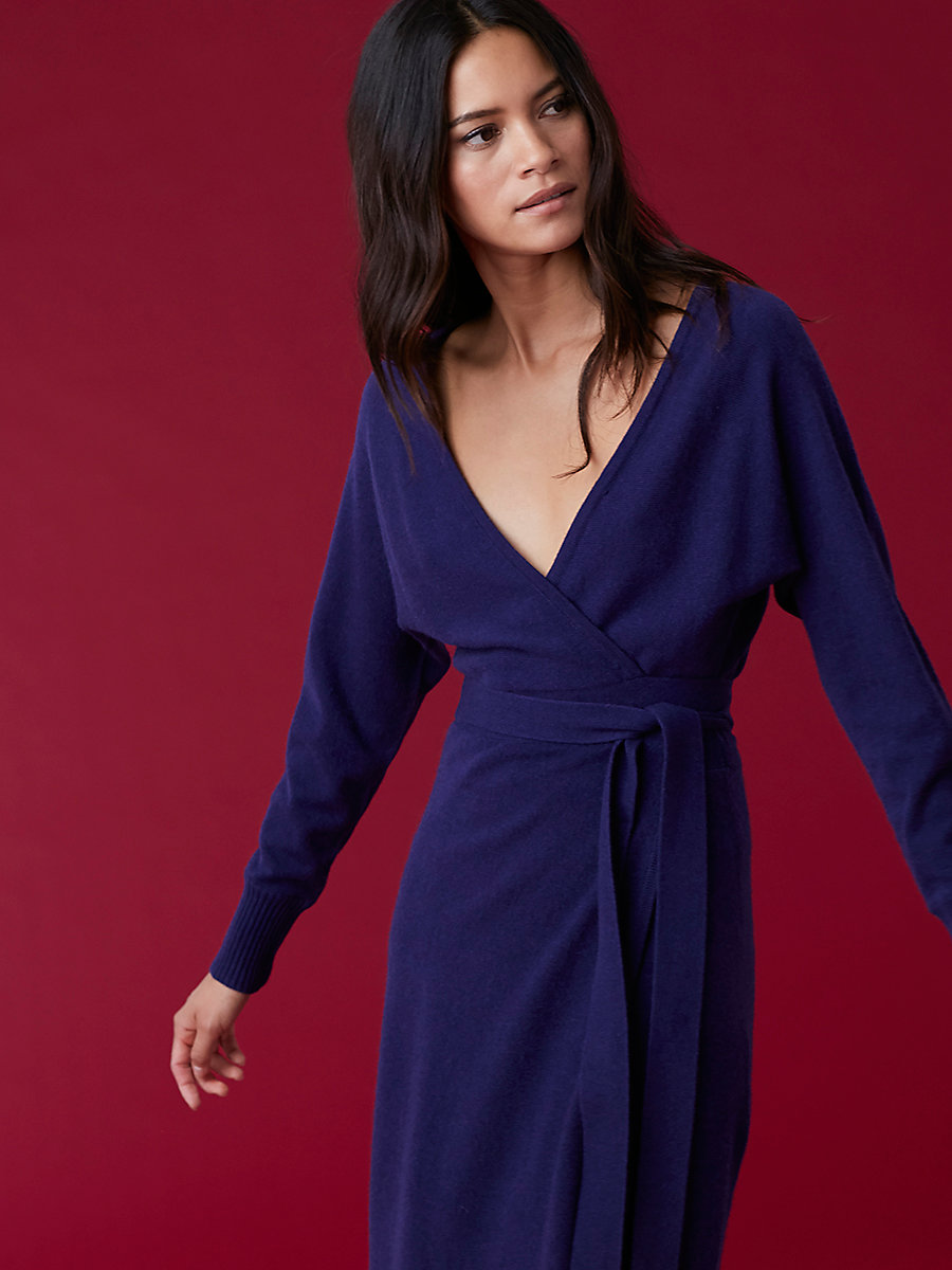Linda Cashmere Knit Wrap Dress in Deep Violet by DVF