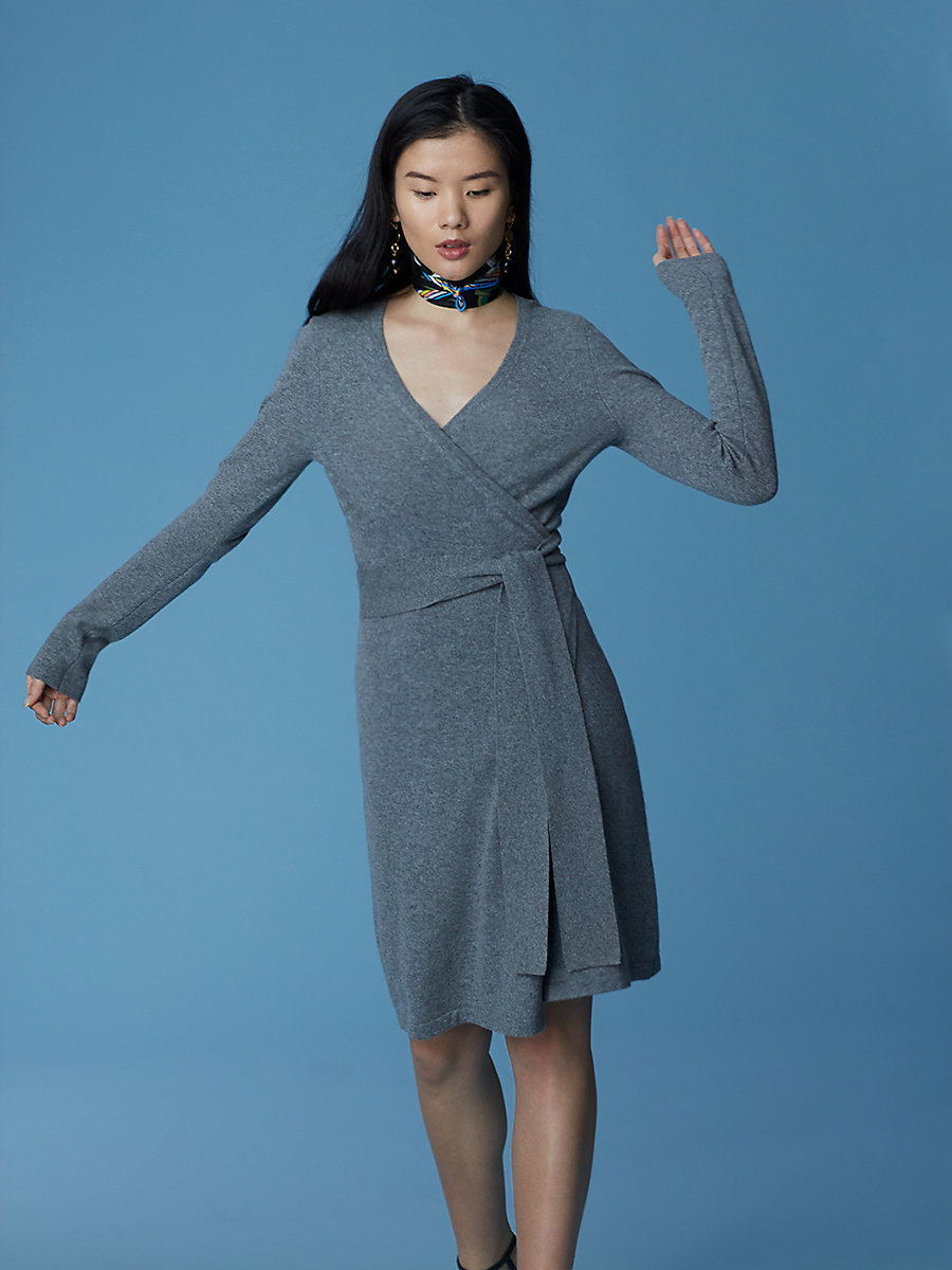 Linda Cashmere Knit Wrap Dress in Medium Heather Grey by DVF