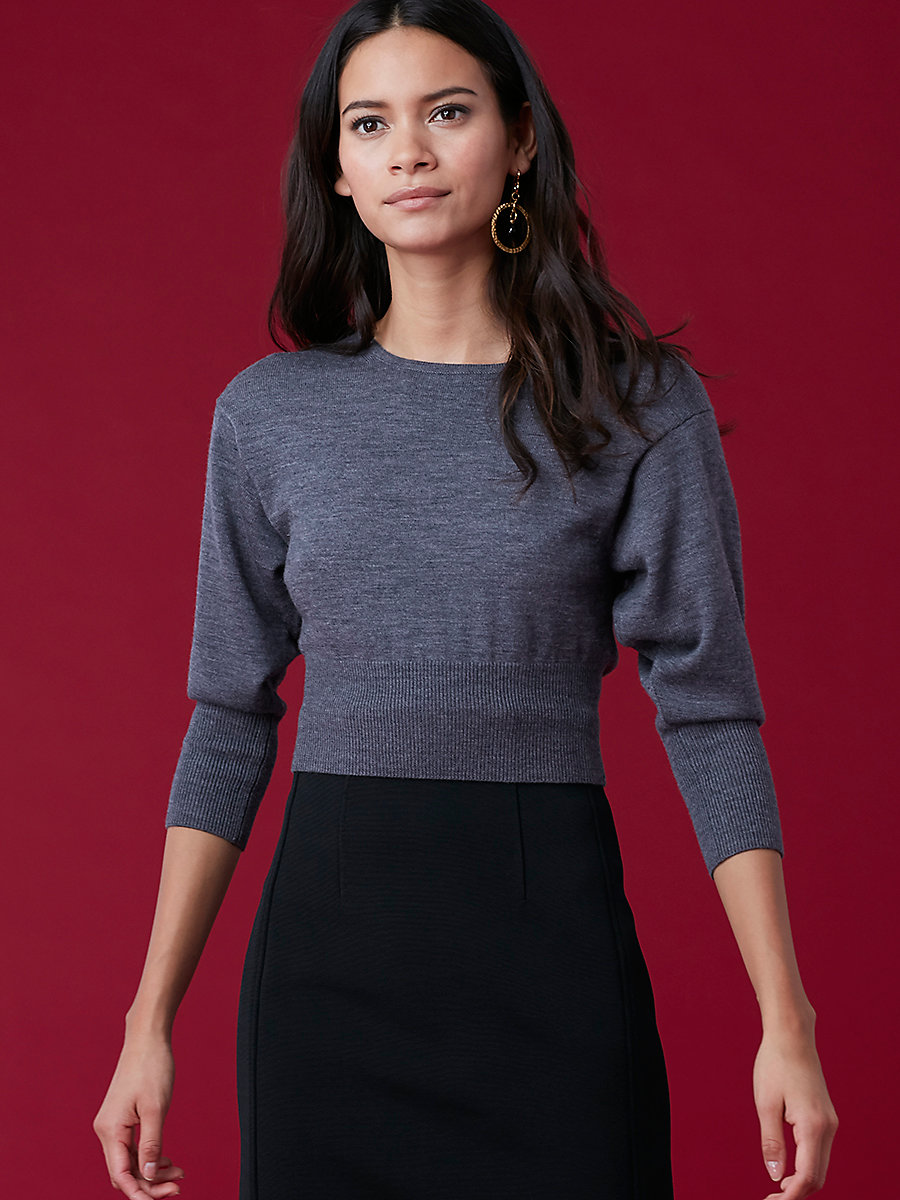 Crewneck Cropped Top in Ash Melange by DVF