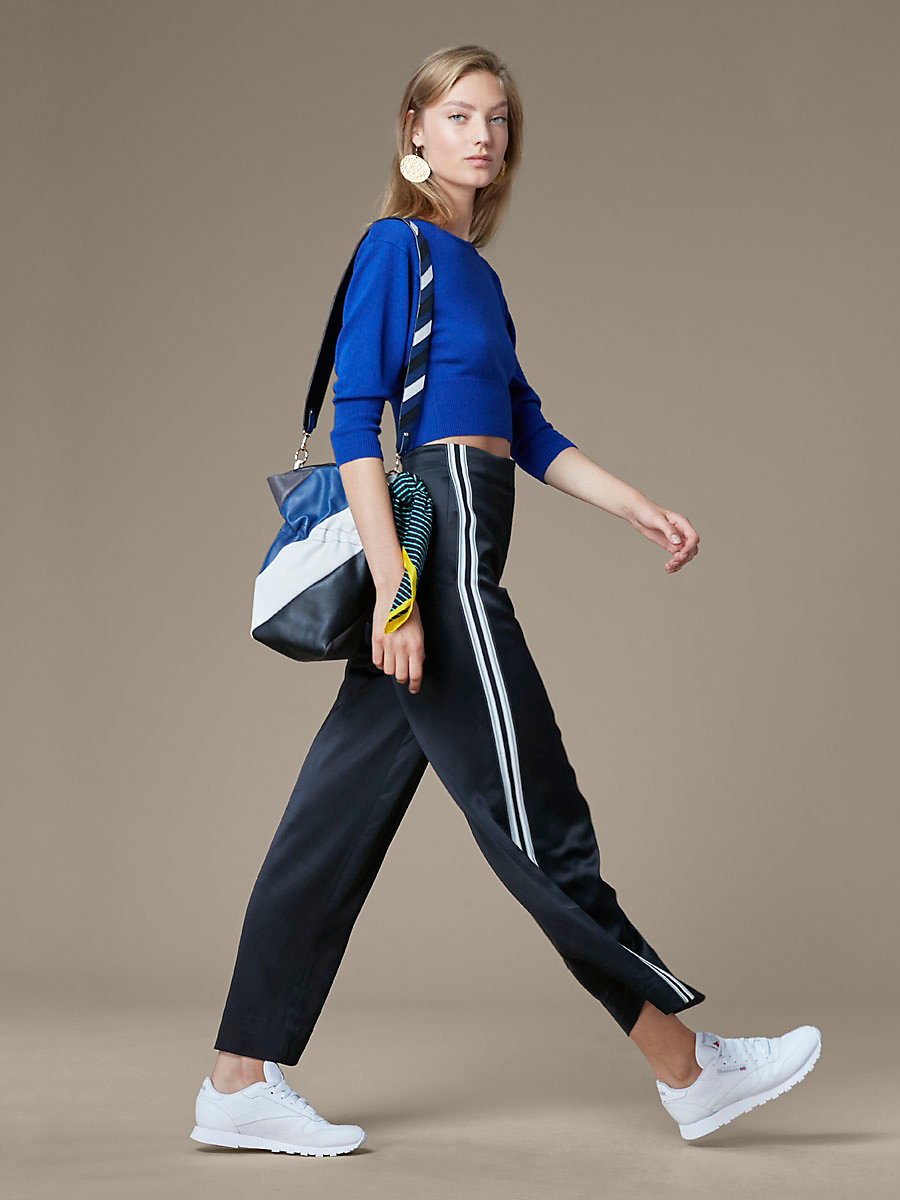 Crewneck Cropped Top in Royal by DVF