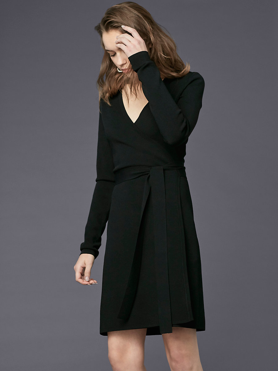 Long-Sleeve V-neck Knit Wrap Dress in Black by DVF