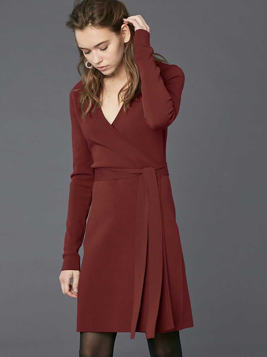 Long-Sleeve V-neck Knit Wrap Dress in Bordeaux by DVF