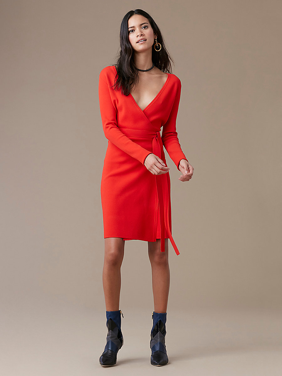 Long-Sleeve Knit Wrap Dress in Bright Red by DVF