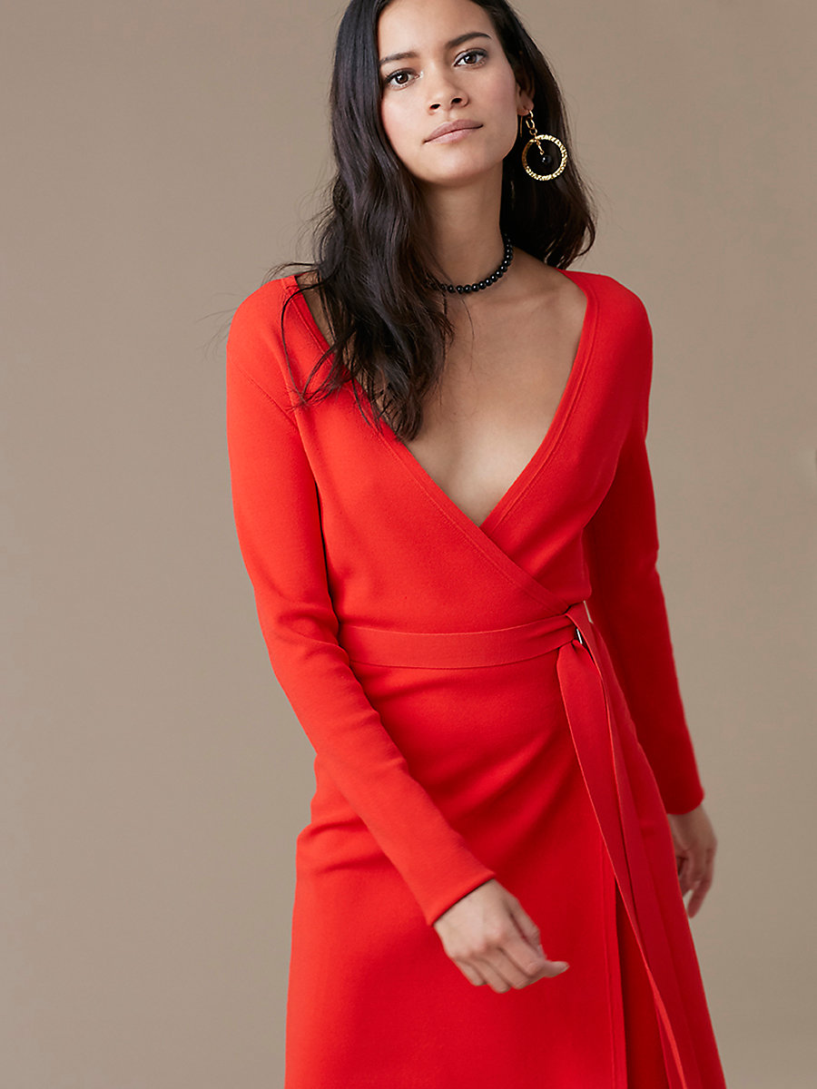 Long-Sleeve V-neck Knit Wrap Dress in Bright Red by DVF