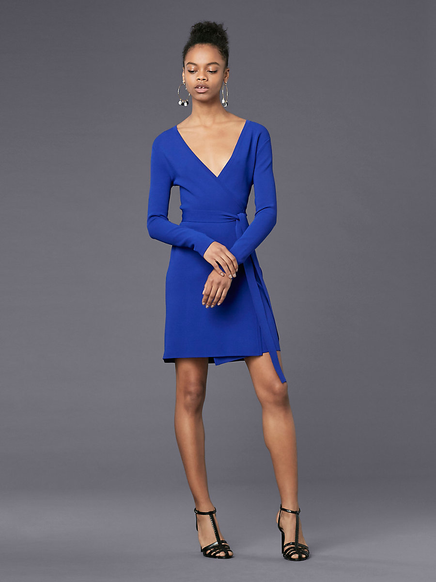 Long-Sleeve V-neck Knit Wrap Dress in Electric Blue by DVF