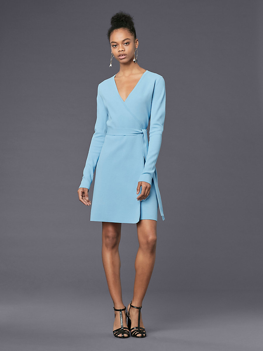 Long-Sleeve V-neck Knit Wrap Dress in Notebook by DVF