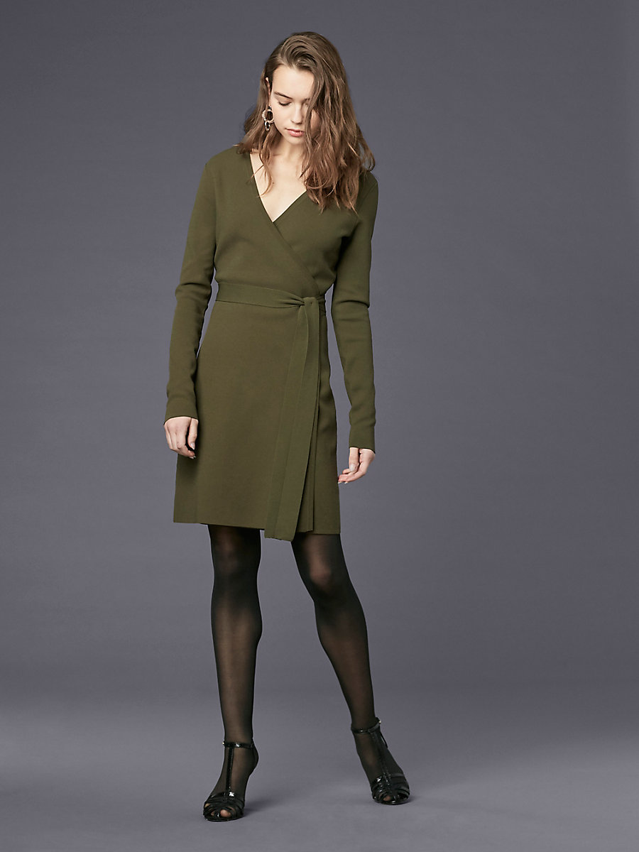 Long-Sleeve V-neck Knit Wrap Dress in Olive by DVF