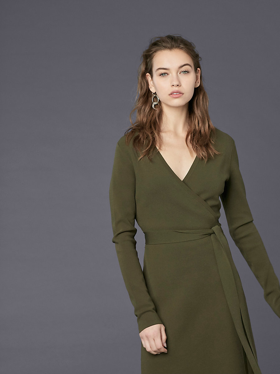Long-Sleeve V-neck Knit Wrap Dress in Olive by DVF