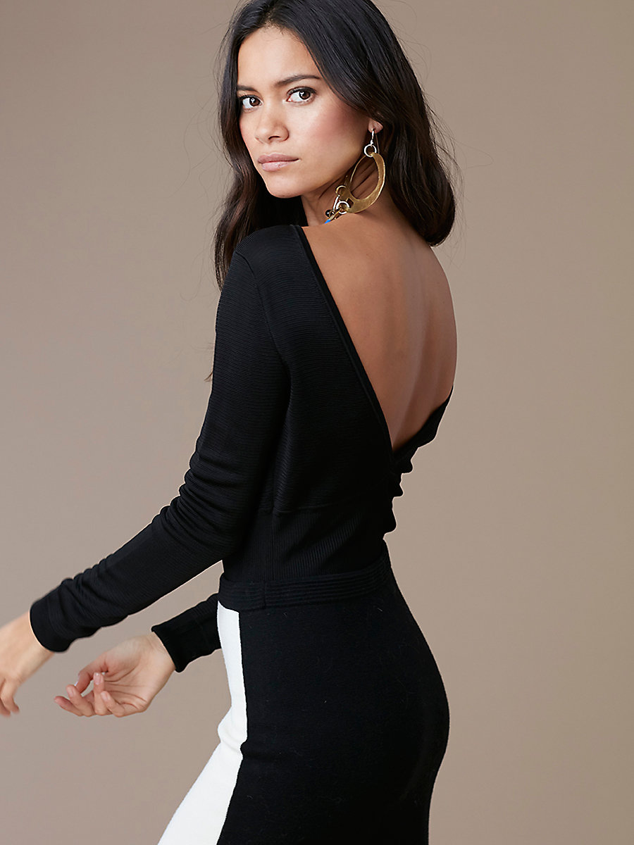 Long-Sleeve Knit Bodysuit in Black by DVF