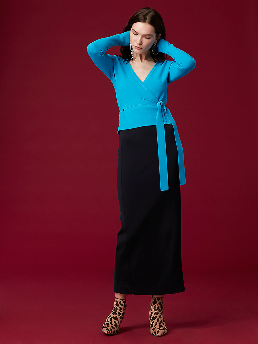 Long-Sleeve Knit Wrap Top in Cerulean by DVF