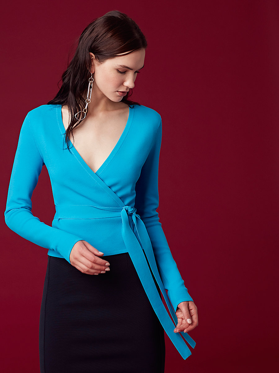 Long-Sleeve Knit Wrap Top in Cerulean by DVF