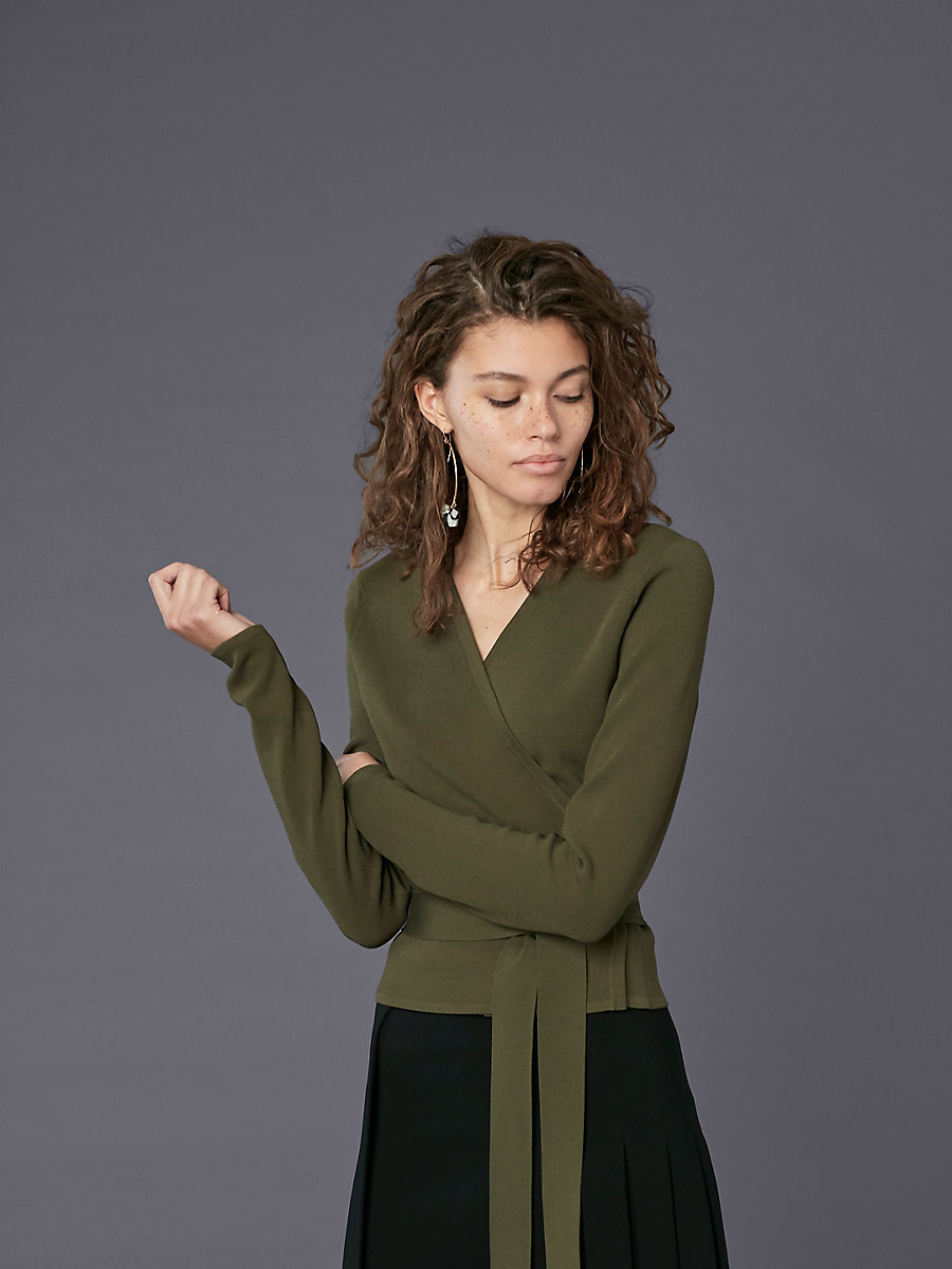 Long-Sleeve Knit Wrap Top in Olive by DVF