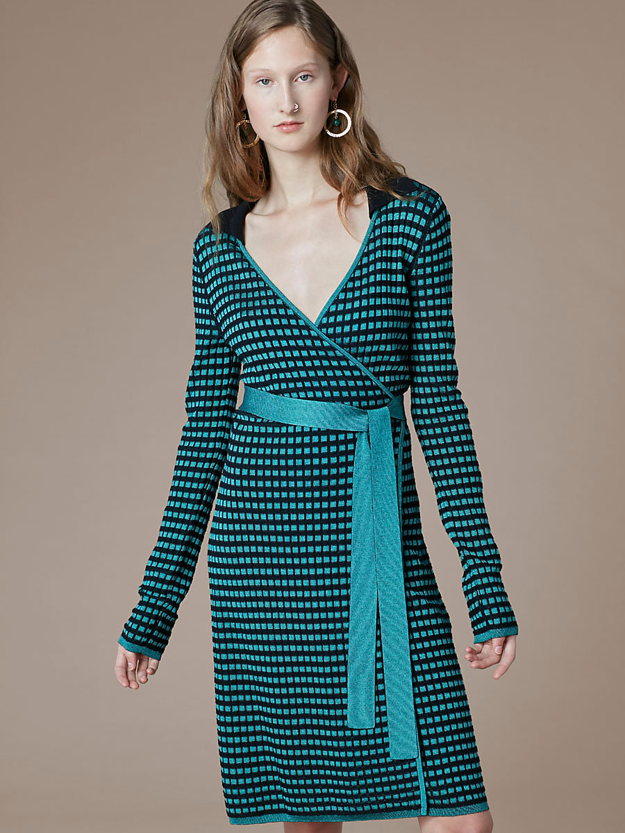Banded Knit Wrap Dress in Aquamarine/black by DVF