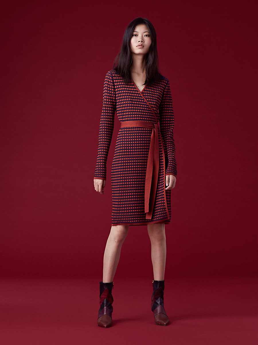 Banded Knit Wrap Dress in Bright Red/ Navy/ Pink by DVF