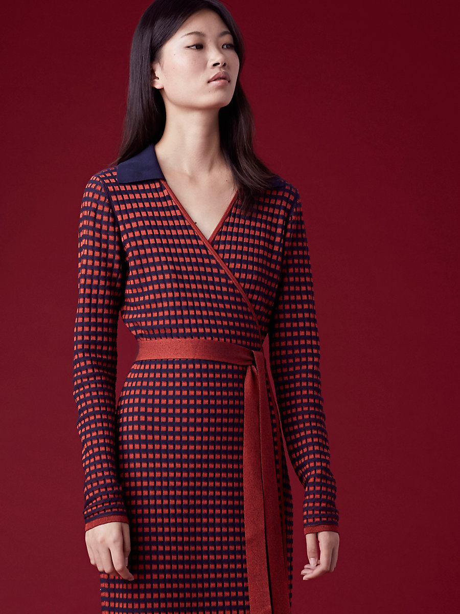 Banded Knit Wrap Dress in Bright Red/alx Navy/plastic Pk by DVF