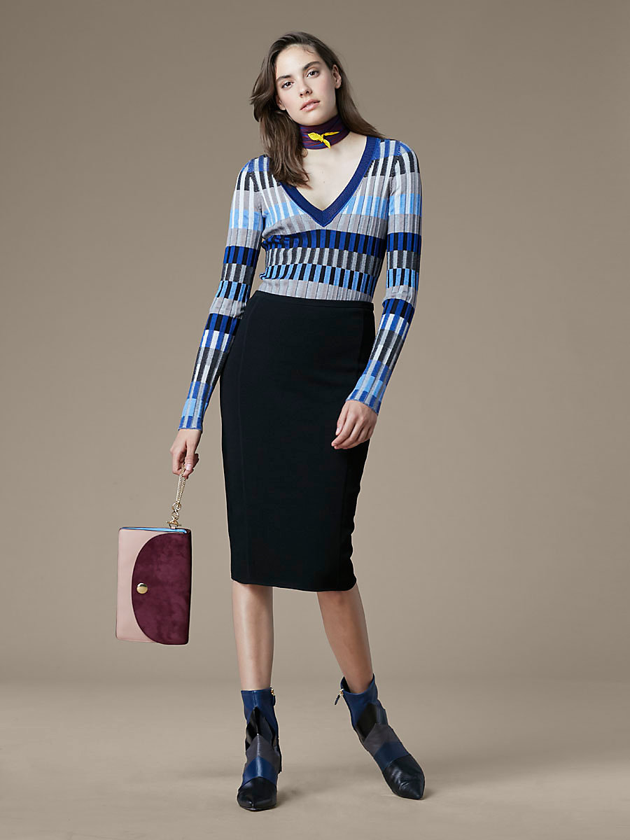 V-Neck Fitted Knit Pullover in Ash Combo by DVF