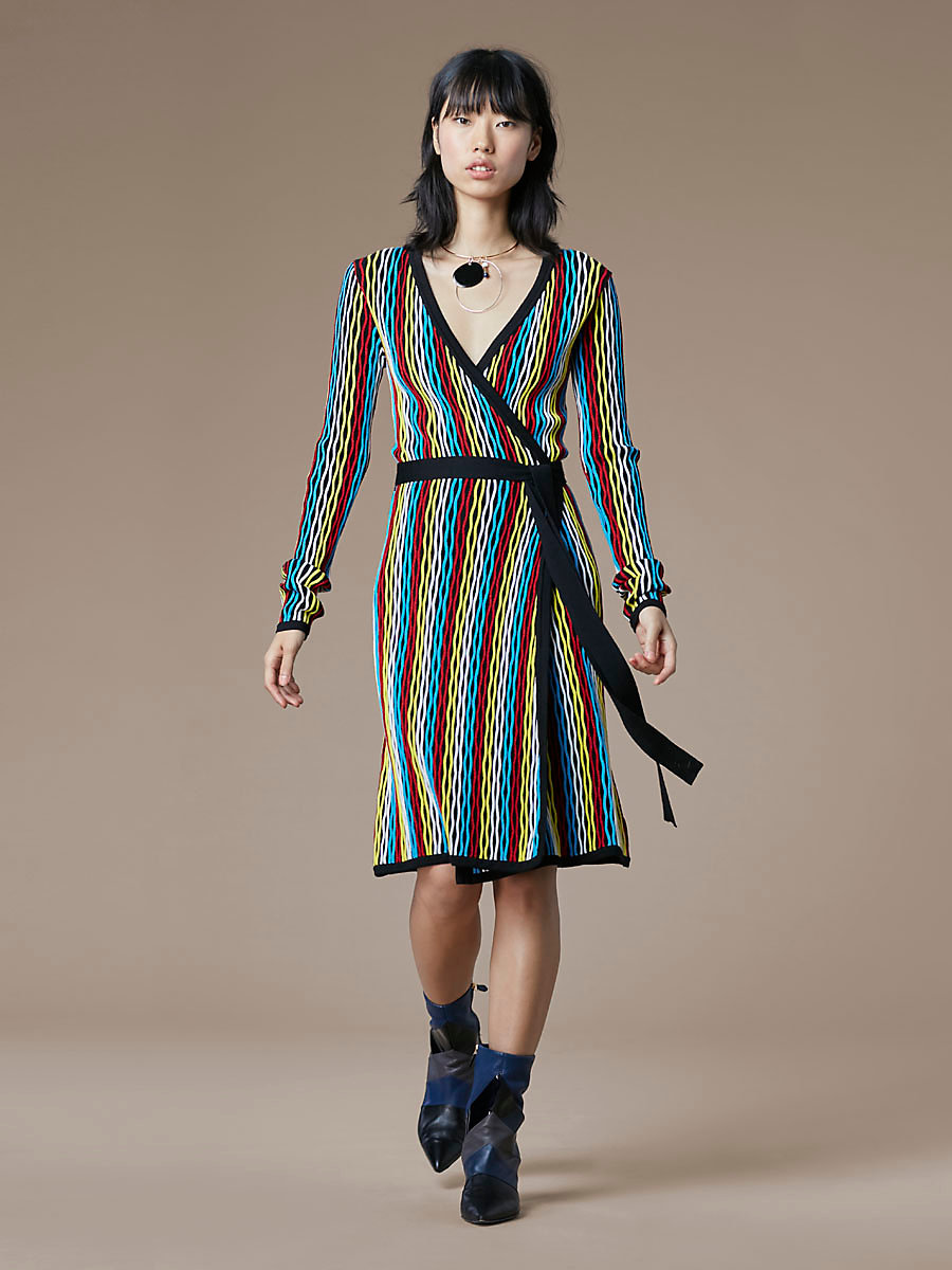 Long-Sleeve Knit Wrap Dress in Bodin Stripe Multi by DVF