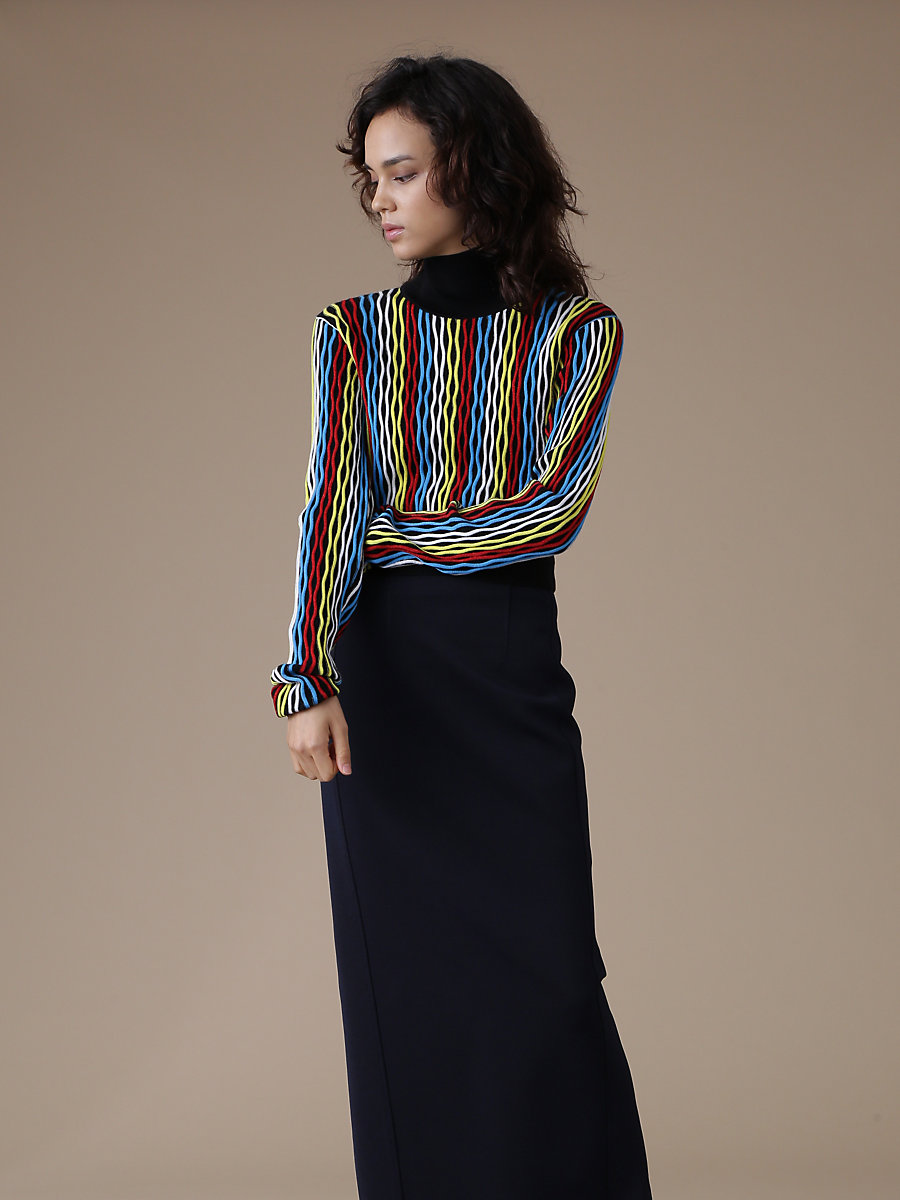 Turtleneck Cropped Pull Over in Bodin Stripe Multi by DVF