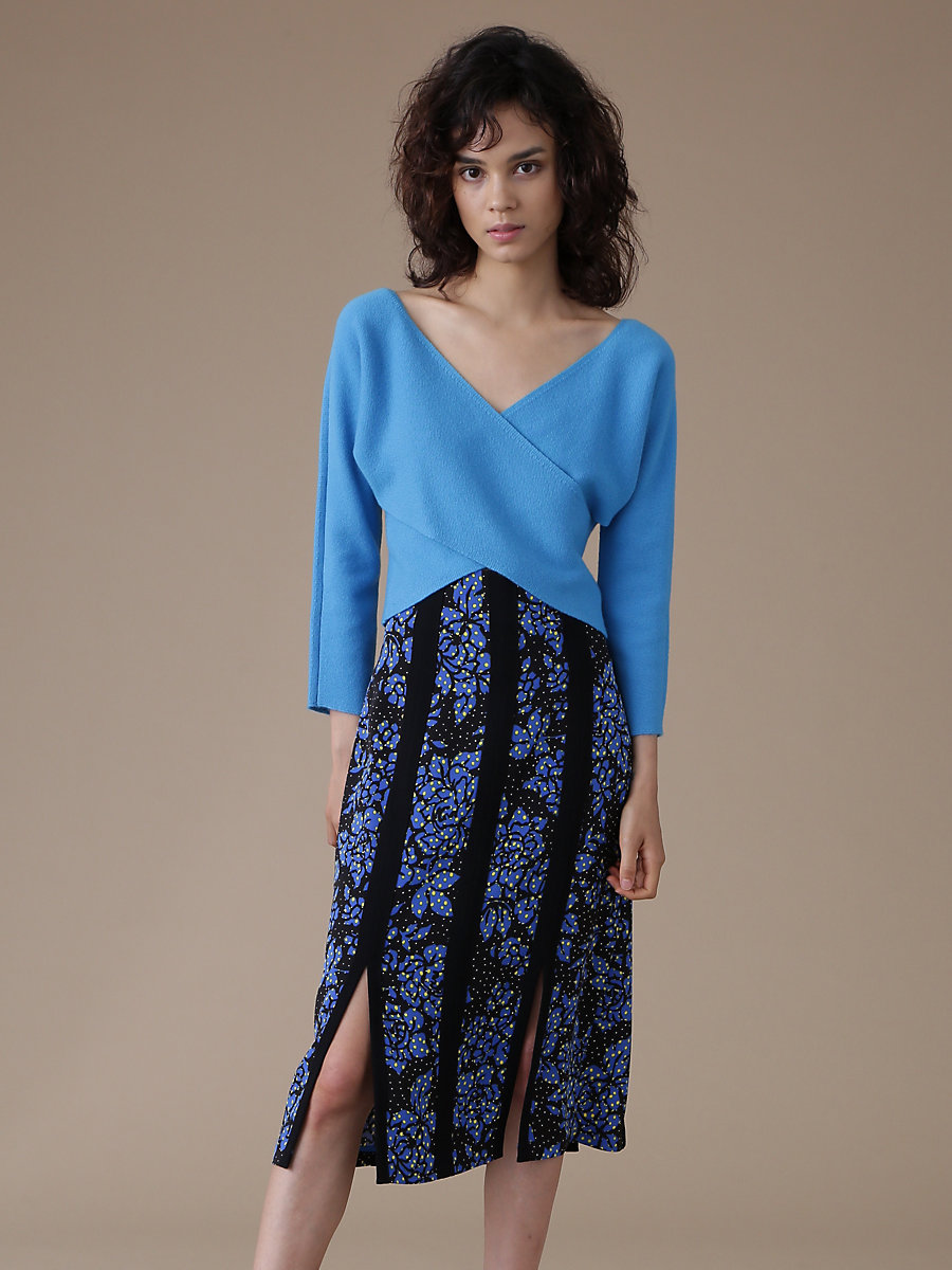 Faux Wrap Crop Top in Cerulean by DVF