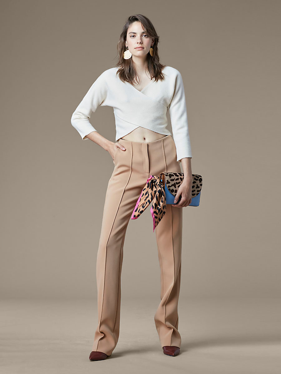 Faux Wrap Crop Top in Ivory by DVF