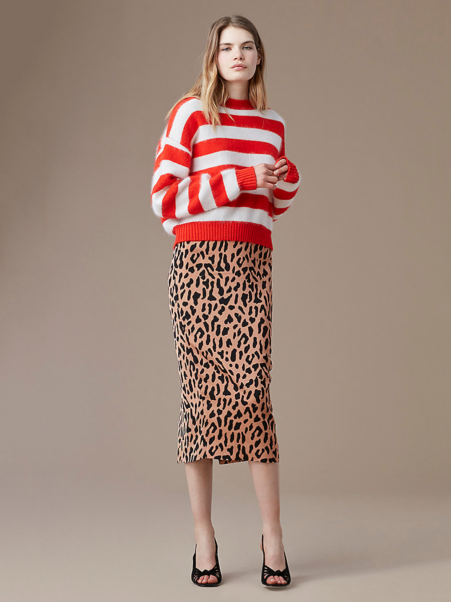 Striped Baseball Pullover in Bright Red/ivory by DVF
