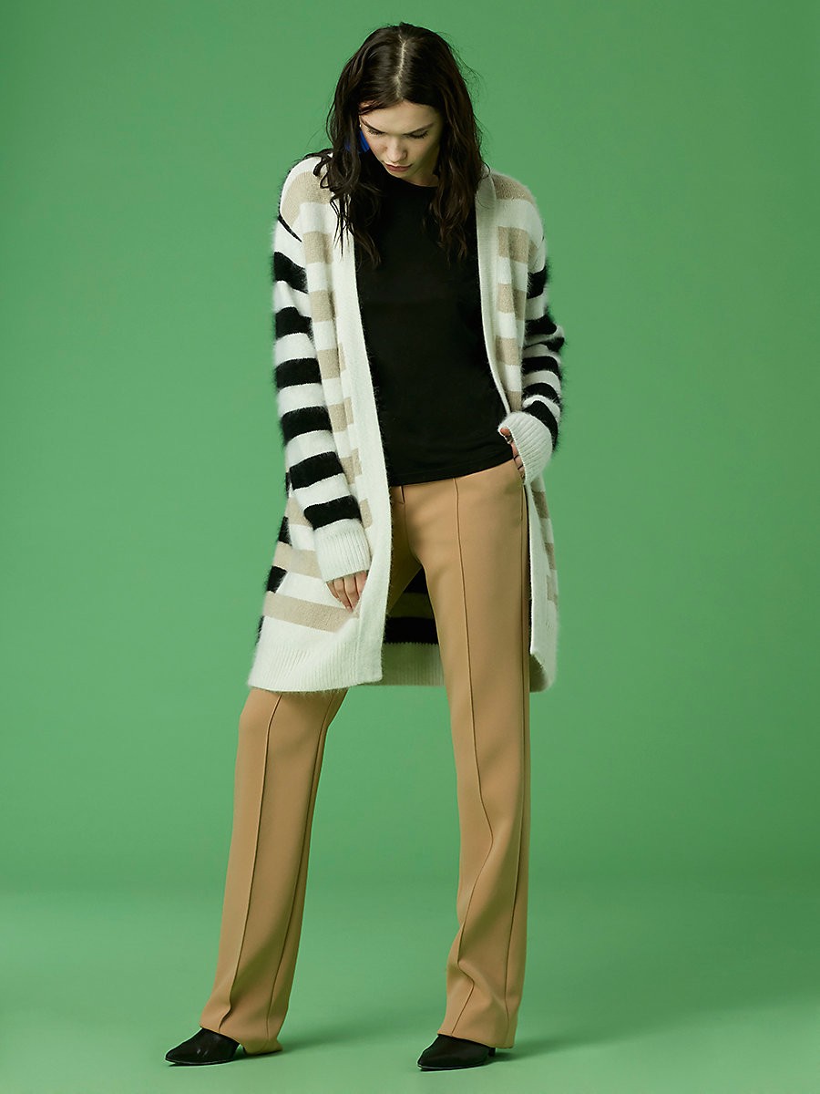 Long-Sleeve Striped Cardigan in Beige/ Ivory/ Black by DVF