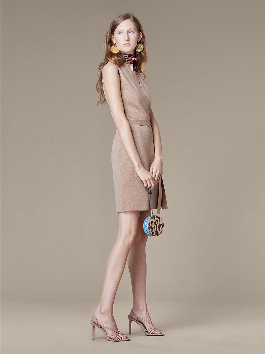 Knit Midi Wrap Dress in Camel/ Camel Melange by DVF