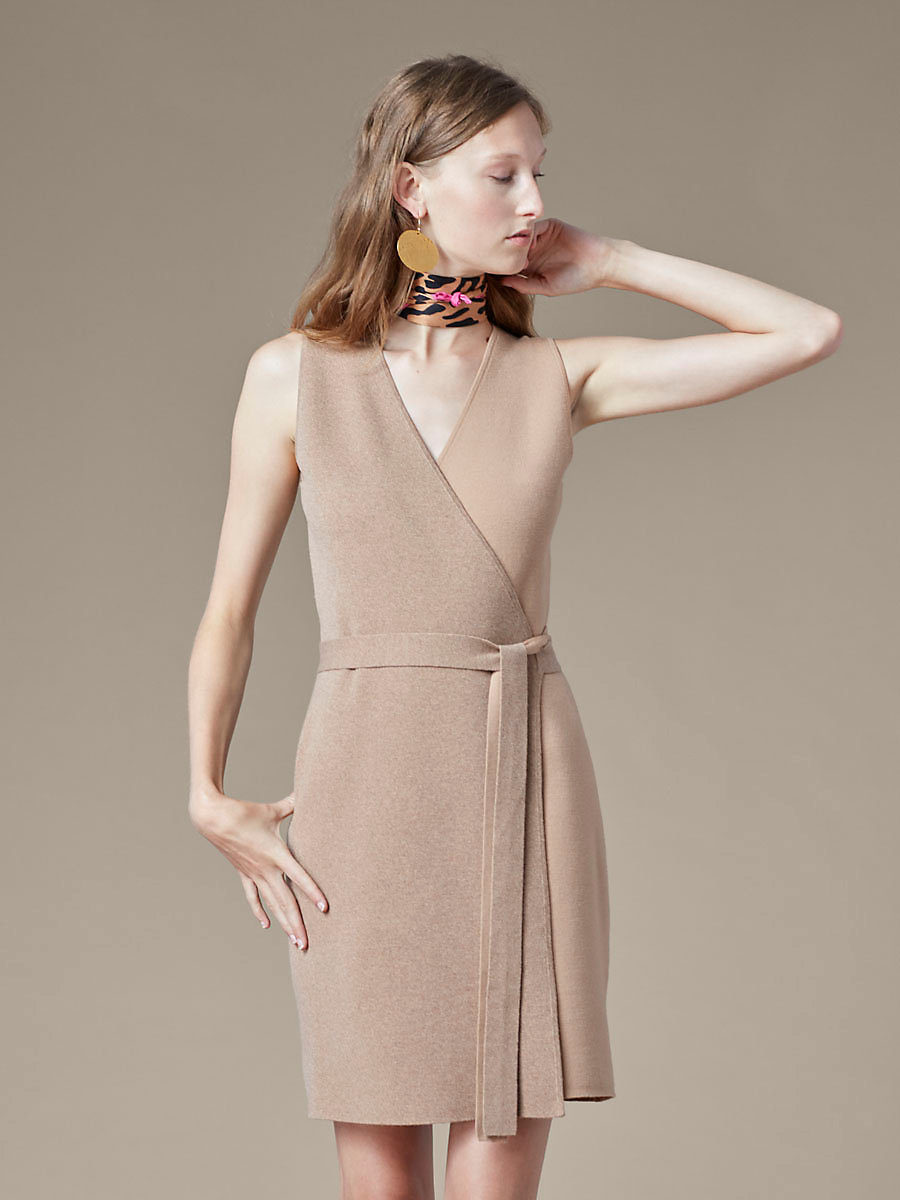 Knit Midi Wrap Dress in Camel/ Camel Melange by DVF