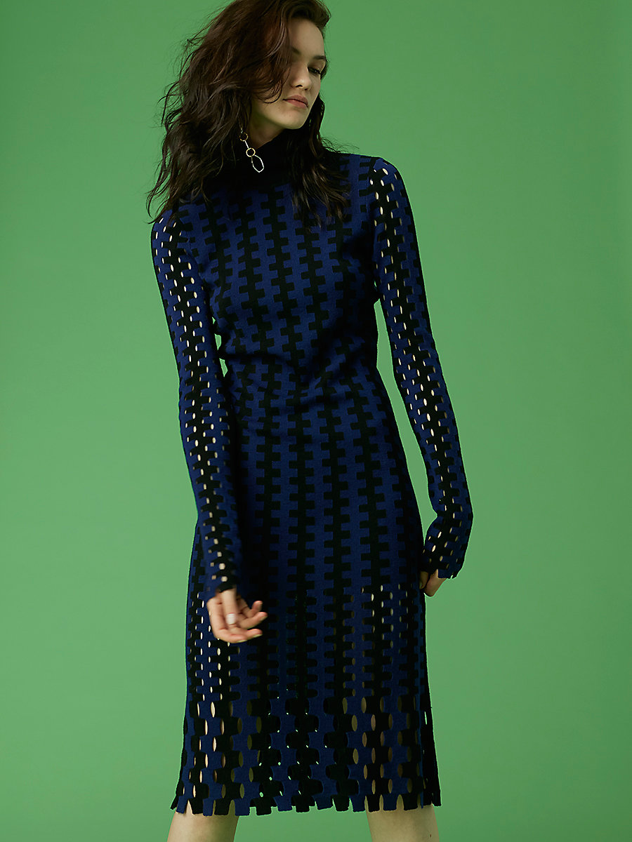 Turtleneck Knit Midi Dress in Black/ Deep Violet by DVF