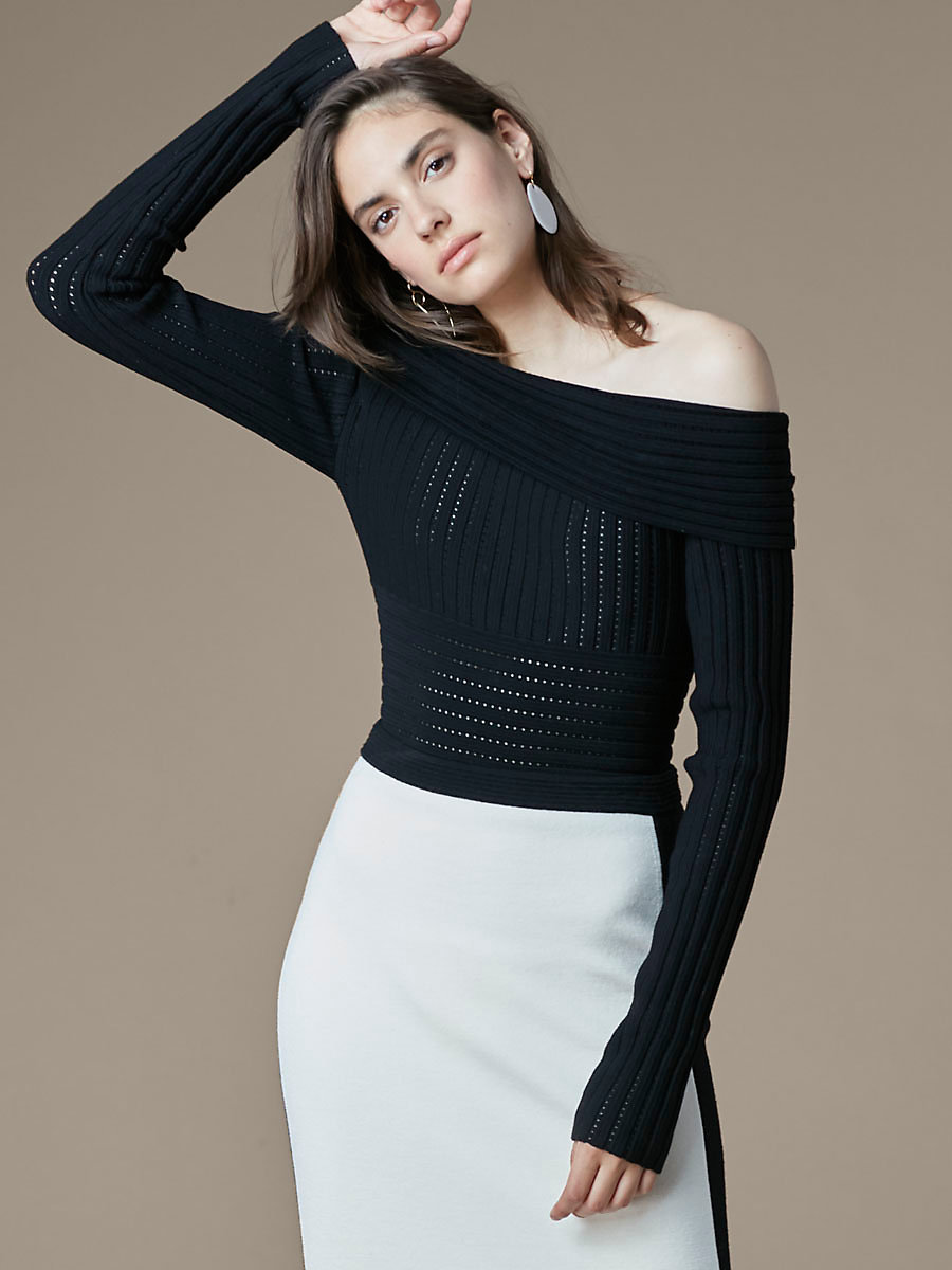 Off-Shoulder Banded Knit Top in Black by DVF